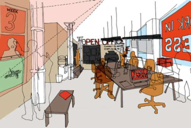 The Open Office interior sketch. Courtesy We Made That.