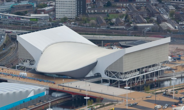 Aerial view of the Olympic Park showing the Aquatics Centre and the Water Polo arena. Picture taken on 16th April 2012 by Anthony Charlton.